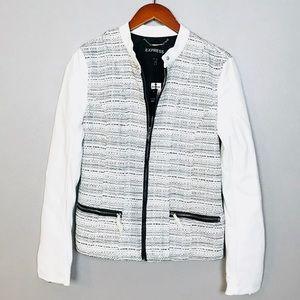Express NEW Faux Leather Tweed Moto Jacket Sz M